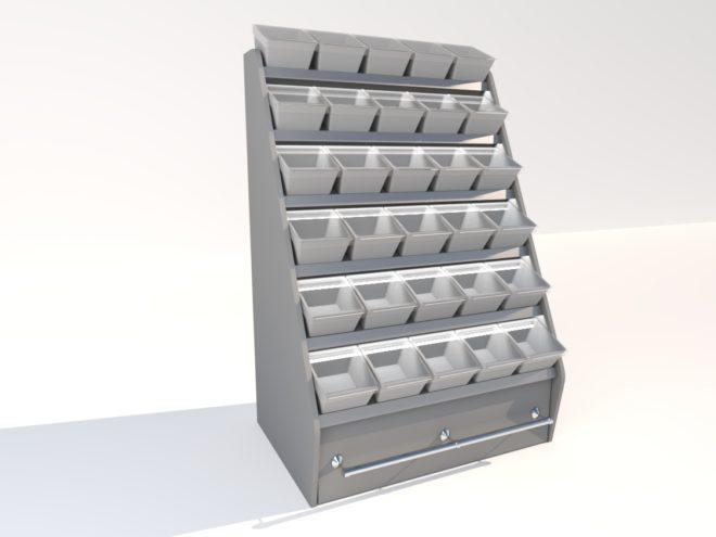 Toplock 3 godisställ med lagerlåda fem lådor i bredd
