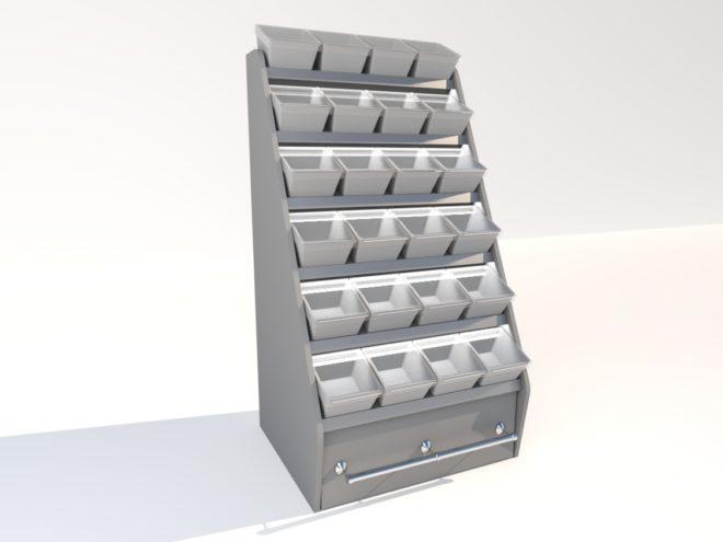 Toplock 3 godisställ med lagerlåda fyra lådor i bredd