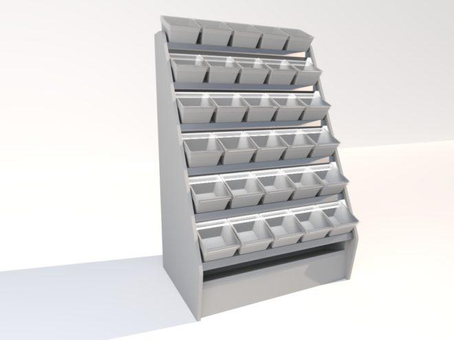Toplock 3 godisställ med påsfack fem lådor i bredd
