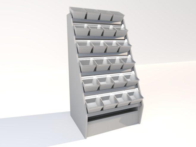 Toplock 3 godisställ med påsfack fyra lådor i bredd