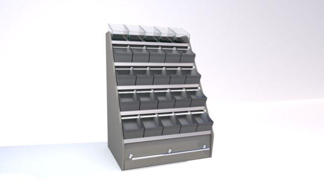 Toplock 4 godisställ med lagerlåda fem lådor i bredd