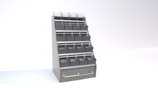 Toplock 4 godisställ med lagerlåda fyra lådor i bredd